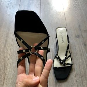 BISOU BISOU black leather mini heels